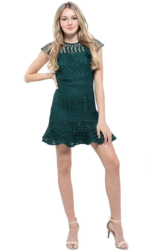 Luna Crochet Ruffle Dress