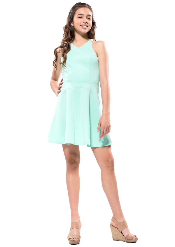 JAIDEN Lace up back Skater Dress
