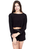 NATHANIA Cozy Fleece Cropped Sweatshirt