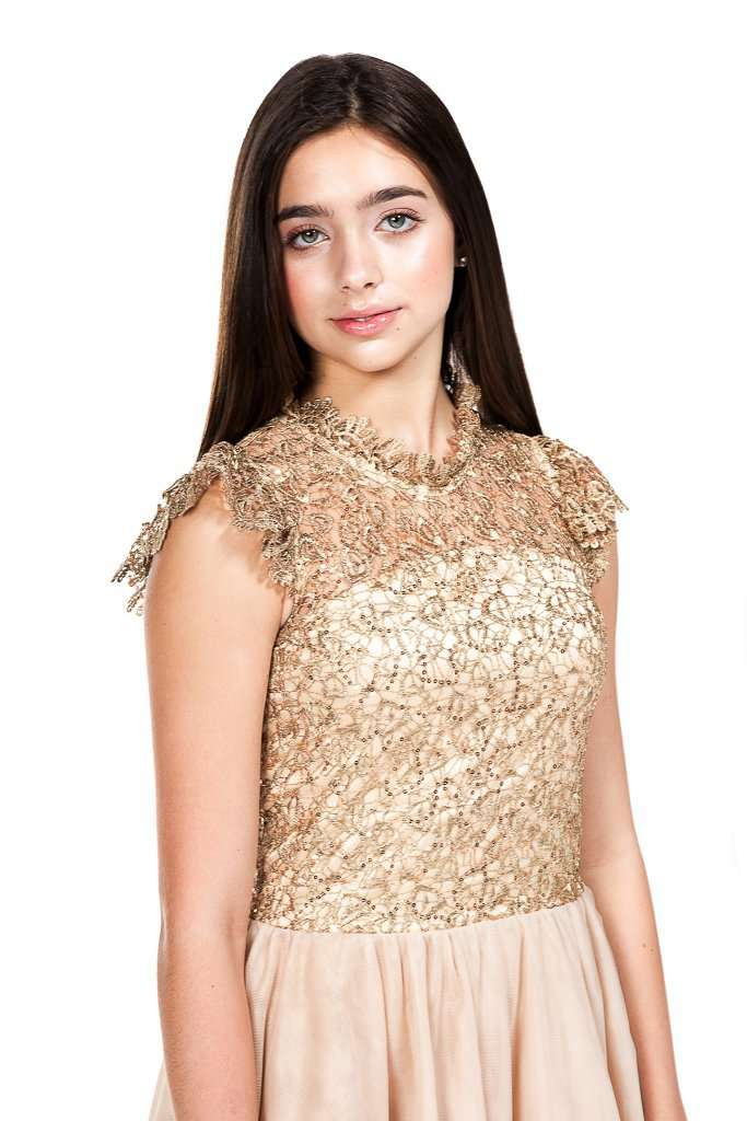Rocky Lace Sequin Tulle Dress Beige - Dress - Teen Girls Clothing fashion - Miss Behave Girls