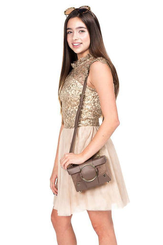 Rocky Lace Sequin Tulle Dress Beige - Dress - Tween Girl - Miss Behave Girls