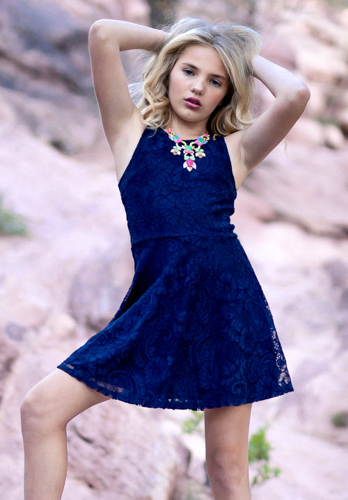 BETTY 3D Lace T-Back Skater Dress