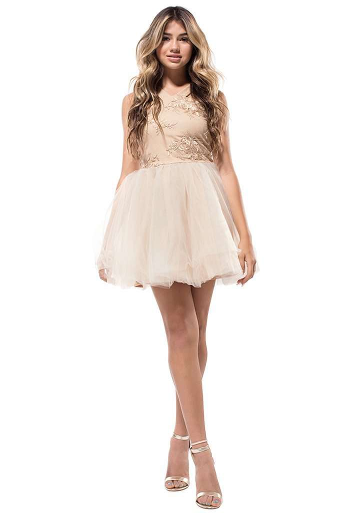 Stephanie Halter Lace Tulle Dress - Dress - Teen Girls Clothing fashion - Miss Behave Girls