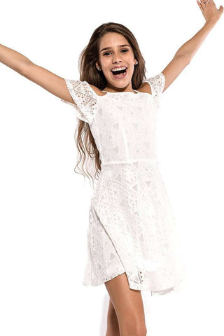 Bella Cold Shoulder Lace Dress - Dresses - Teen Girls Clothing fashion - Miss Behave Girls