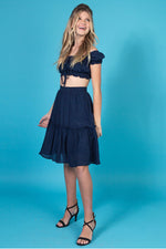 VALERIE Ruched Crop Top and Midi Skirt Set
