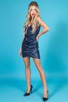 EMMA Crisscross Pleated Sequin Dress Minidress