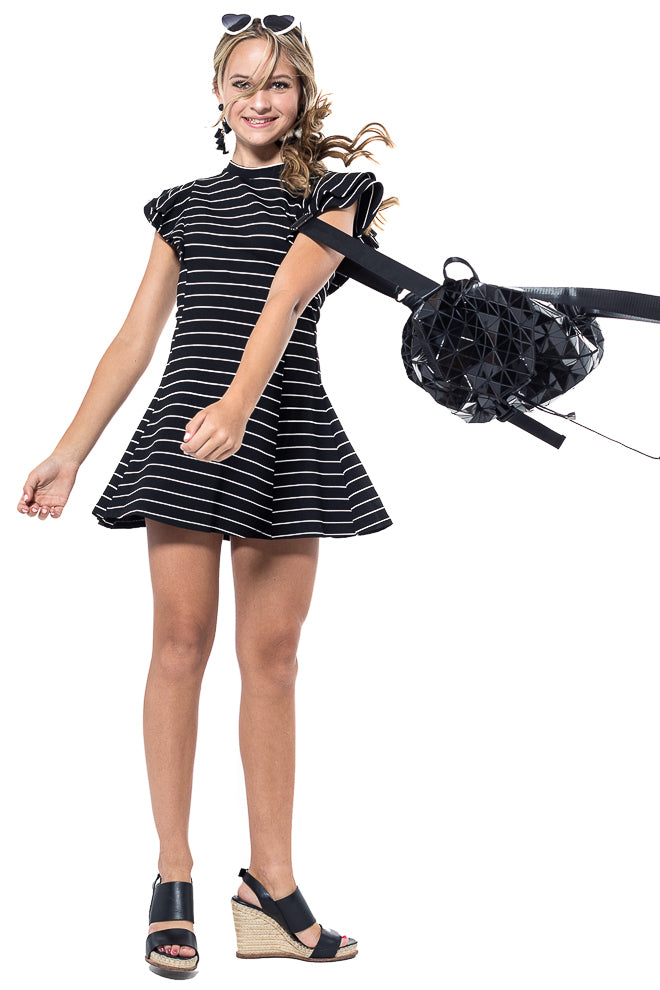RAVEN Stripe Layered Ruffle Mini Dress