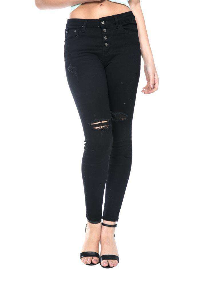Button Fly Mid-Rise Waist  Black Jeans - Jeans - Teen Girls Clothing fashion - Miss Behave Girls