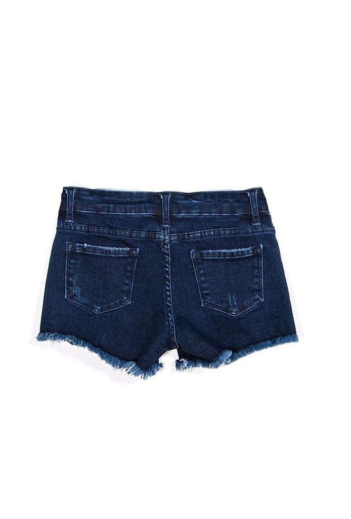 Stretch Cutoff Jean Shorts Dark Indigo - Shorts - Tween Girls Clothing - Miss Behave Girls