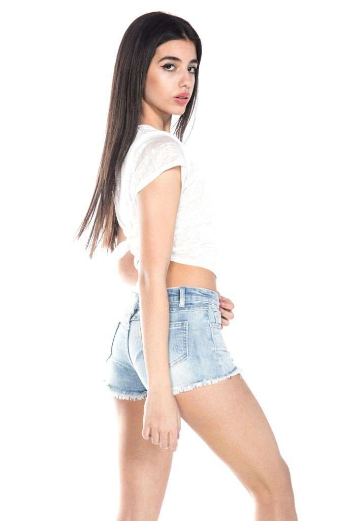 Distressed Jean Shorts Exposed Pockets Light Indigo - Shorts - Teen Girls Clothing fashion - Miss Behave Girls