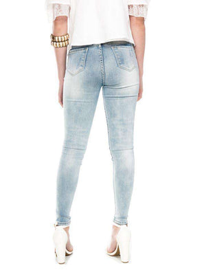 Button Fly Mid-Rise Waist Light Indigo Jeans - Jeans - Teen Girls Clothing fashion - Miss Behave Girls