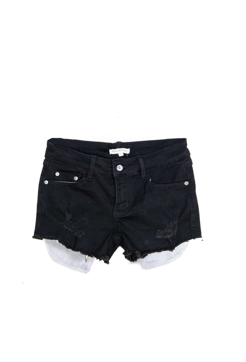 Distressed Jean Shorts Exposed Pockets Black - Shorts - Teen Girls Clothing fashion - Miss Behave Girls