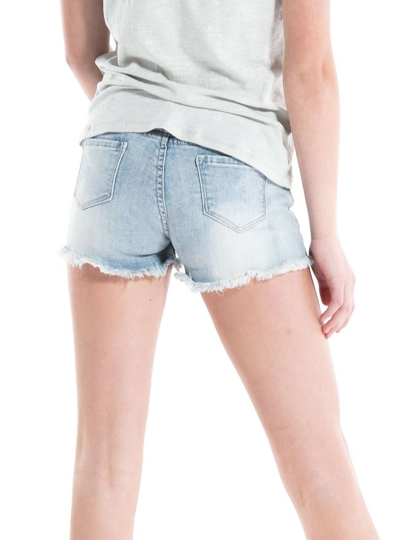 Stretch Cut Off Jean Shorts Light Indigo - Shorts - Teen Girls Clothing fashion - Miss Behave Girls