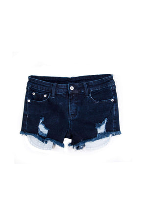 Distressed Jean Shorts Exposed Pockets Dark Indigo - Shorts - Teen Girls Clothing fashion - Miss Behave Girls