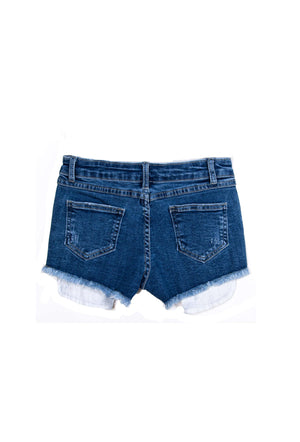 Distressed Jean Shorts Exposed Pockets Medium Indigo - Shorts - Teen Girls Clothing fashion - Miss Behave Girls
