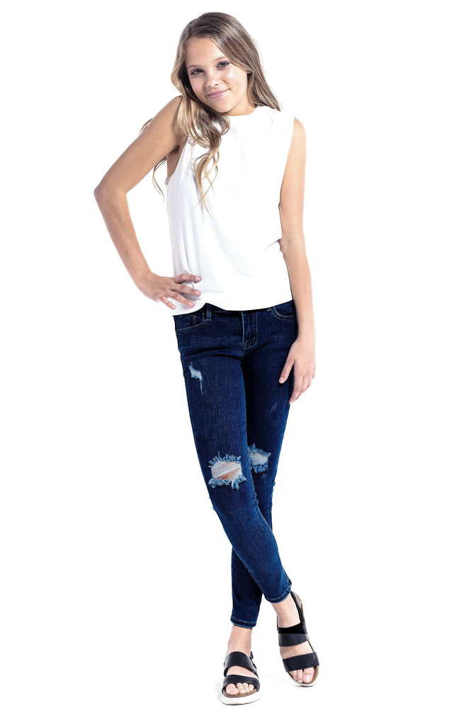 Ripped Mid Rise Distressed Skinny Jeans Dark Indigo - Jeans - Teen Girls Clothing fashion - Miss Behave Girls