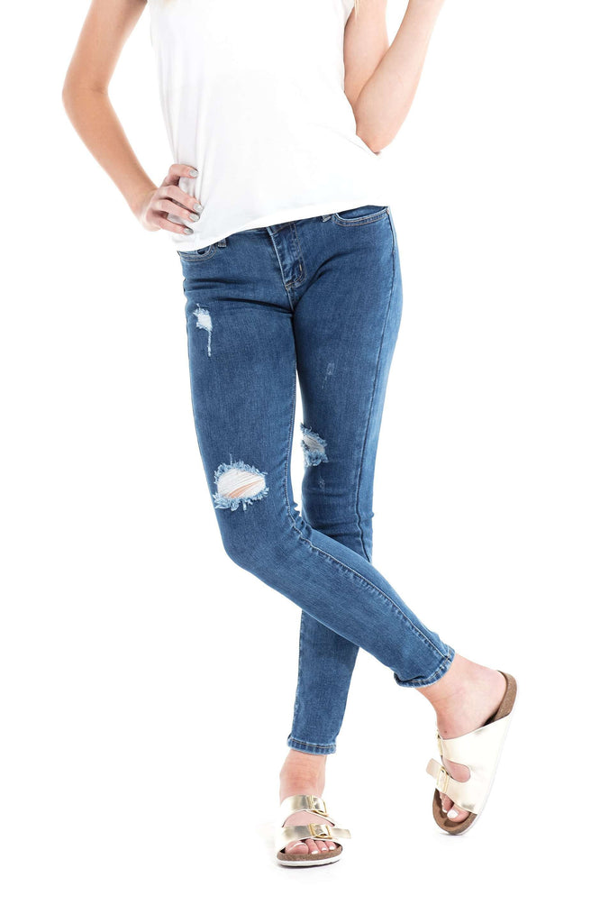 Ripped Mid Rise Distressed Skinny Jeans Medium Indigo - Jeans - Teen Girls Clothing fashion - Miss Behave Girls