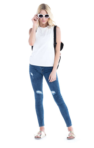 Ripped Mid Rise Distressed Skinny Jeans Medium Indigo - Jeans - Tween Girl - Miss Behave Girls
