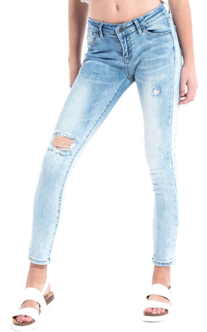 Ripped Mid Rise Distressed Skinny Jeans Dark Indigo