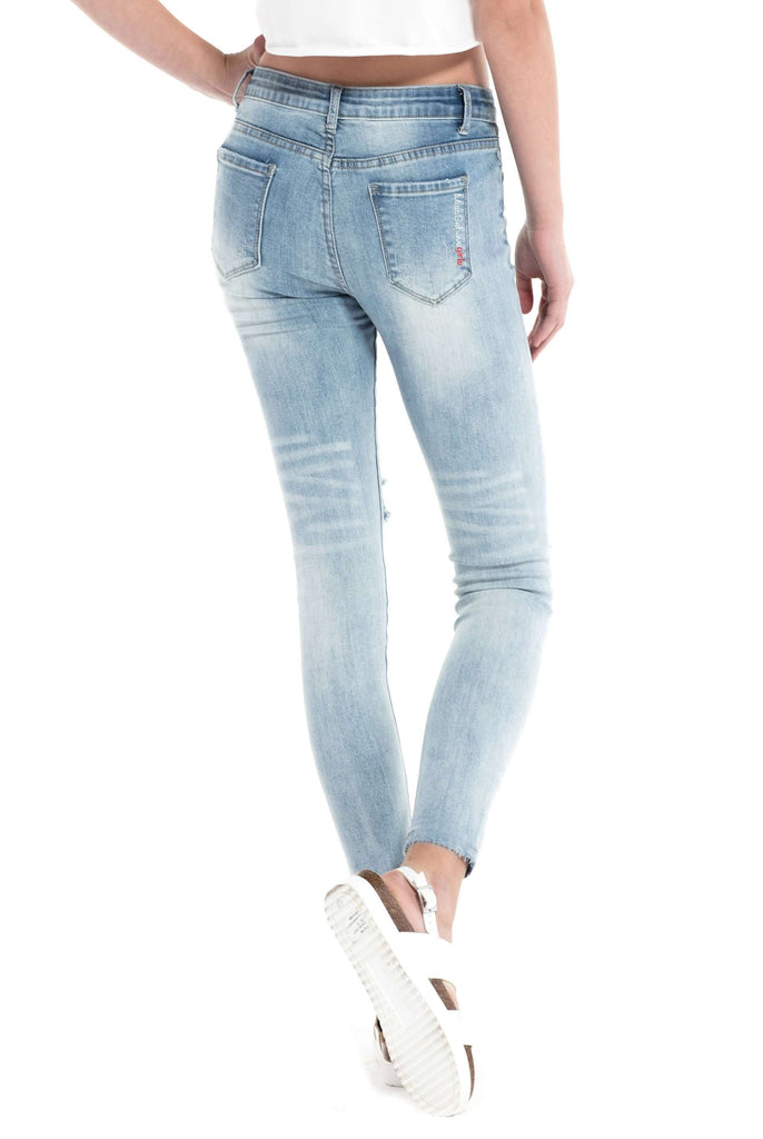 Distressed Skinny Jeans - Jeans - Teen Girls Clothing fashion - Miss Behave Girls