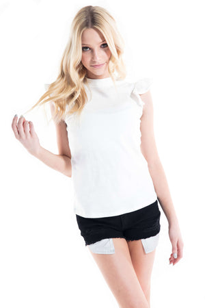 Hazel Ruffle Cap Sleeves Top White - Top - Teen Girls Clothing fashion - Miss Behave Girls