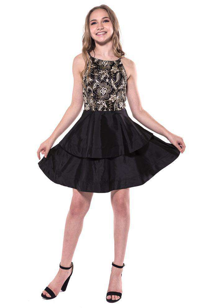 Marion Lace Bodice Tiered Dress - Dress - Teen Girls Clothing fashion - Miss Behave Girls