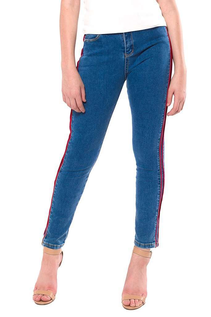 Jenny Tuxedo Stripe Ankle Skinny Jeans - Jeans - Teen Girls Clothing fashion - Miss Behave Girls