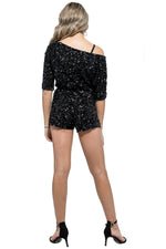 REBEL Multi Sequined Off Shoulder Romper