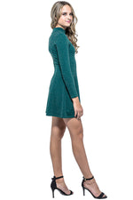 PAIGE Metallic Long Sleeve Skater Dress