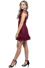 LUNA Crochet Lace Ruffle Fit & Flare Dress