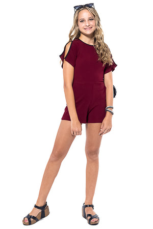 OLIVIA Split Sleeves Knit Romper