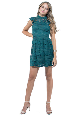 HAZEL Crochet Ruffle Dress