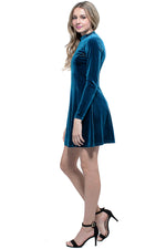 PAIGE VELVET Long Sleeve Skater Dress