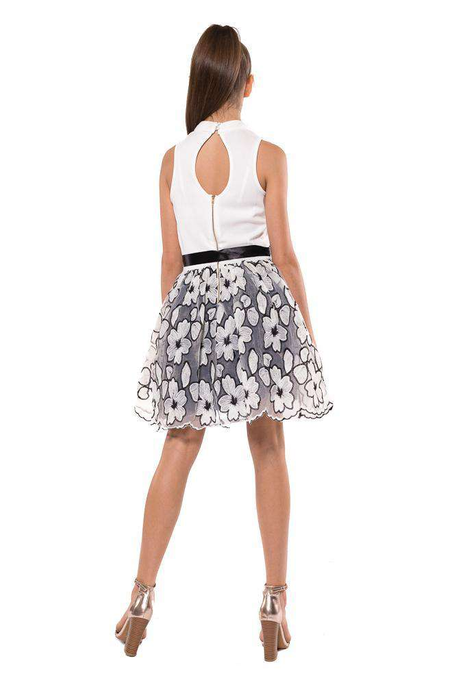 Grace High Neck Floral Embroidery Skirt Dress