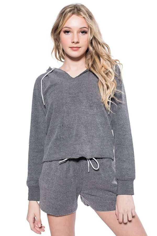 Charlize Brushed Cropped Hoodie - Sweatshirt - Teen Girls Clothing fashion - Miss Behave Girls