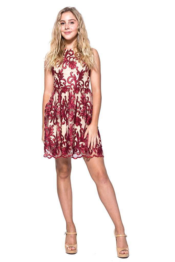Hindi Crochet Lace Fitted & Flare - Dress - Teen Girls Clothing fashion - Miss Behave Girls