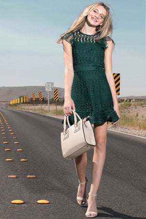 Luna Crochet Multi Lace Ruffle Dress