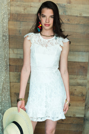 LUNA Flower Lace Ruffle Dress