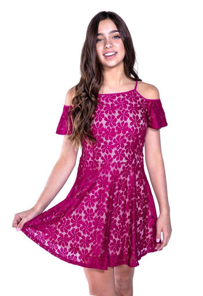 Bella Cold Shoulder Ruffle Dress - Dress - Teen Girls Clothing fashion - Miss Behave Girls