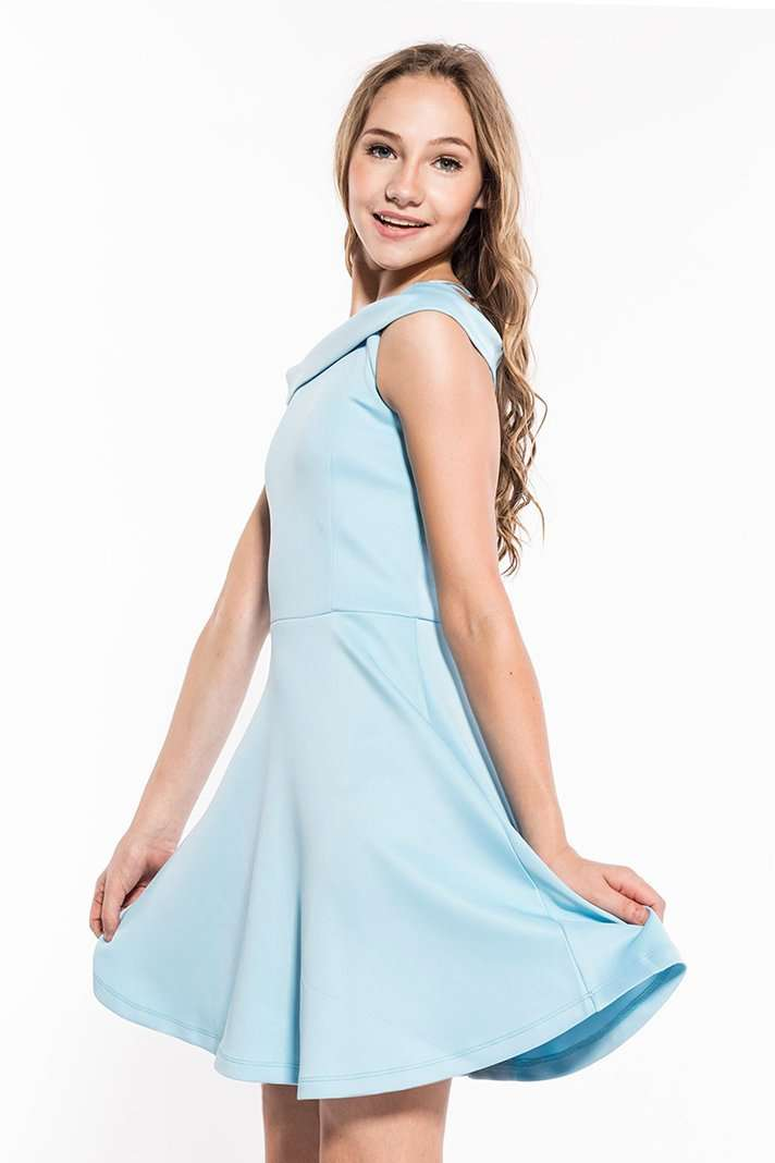 Valentina Off The Shoulder Skater Dress - Dress - Teen Girls Clothing fashion - Miss Behave Girls