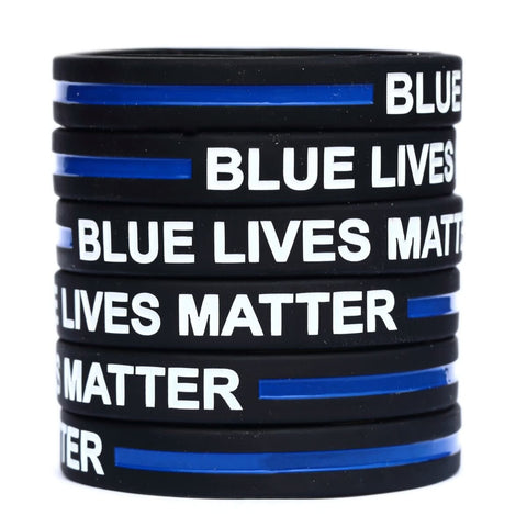 Blue Lives Matter Thin Blue Line Silicone Wrist Band Bracelet Wristband - Support Police and Law Enforcement