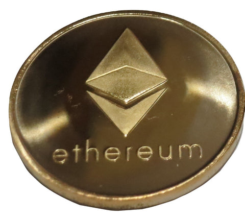 Ethereum Gold Plated Color Ethereum ETH Physical Cryptocurrency Collectible Novelty Coin by TrendyLuz (Pack of 1)