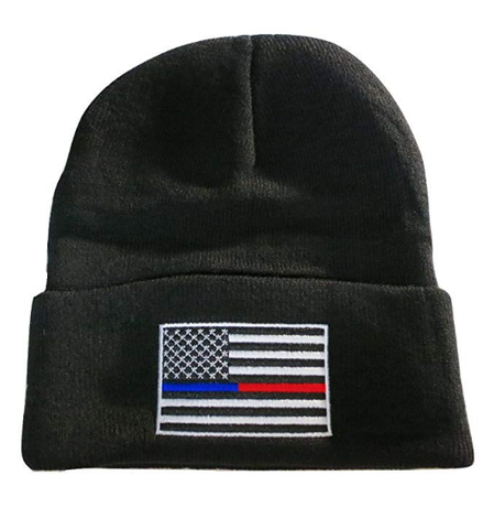 Thin Blue Red Line USA Flag Knit Skull Cap Hat Beanie by TrendyLuz - Support Police Firefighter