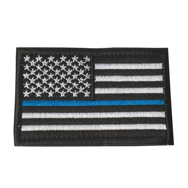 Thin Blue Line Tactical American USA Flag Patch, Embroidered Velcro Patch US Military Police Firefighter