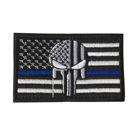 Thin Blue Line Tactical American USA Punisher Skull Flag Patch, Embroidered Velcro Patch US Military Police Firefighter