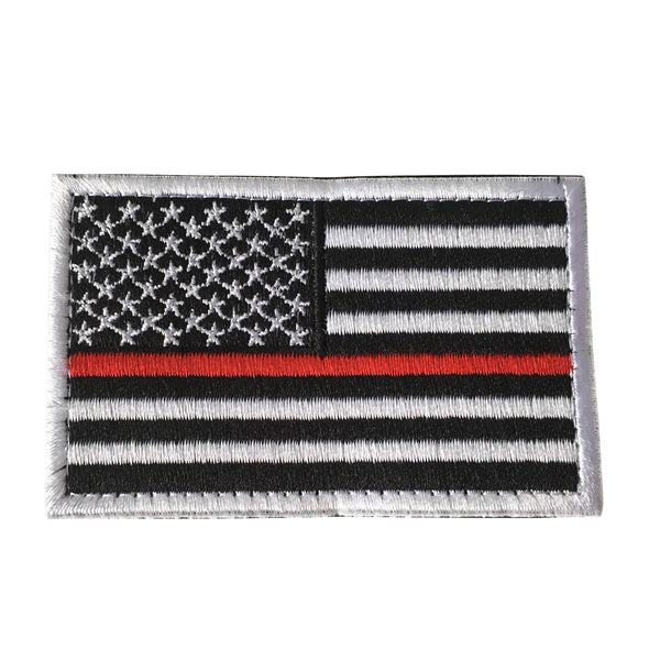 Thin Red Line Tactical American USA Flag Patch, Embroidered Velcro Patch US Military Police Firefighter