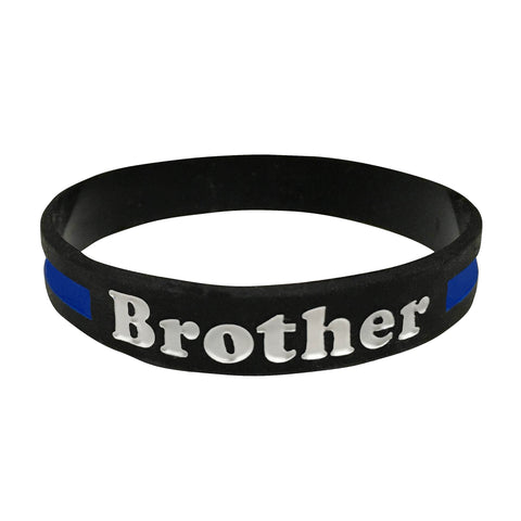 Brother Thin Blue Line Silicone Wrist Band Bracelet Wristband - Support Police and Law Enforcement