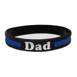 Dad Thin Blue Line Silicone Wrist Band Bracelet Wristband - Support Police and Law Enforcement