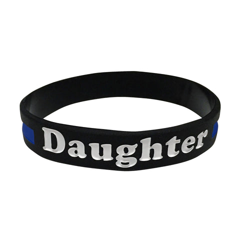 Daughter Thin Blue Line Silicone Wrist Band Bracelet Wristband - Support Police and Law Enforcement
