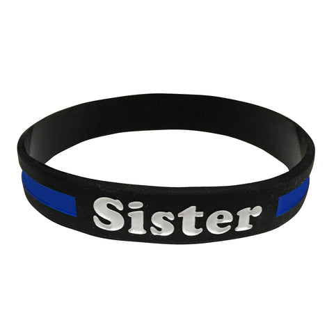 Sister Thin Blue Line Silicone Wrist Band Bracelet Wristband - Support Police and Law Enforcement